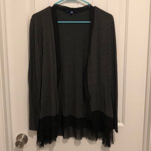Apt 9 Fringe Hem Cardigan Grey/Black XL